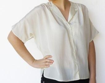 Vintage Silk Blouse / Button Up Cream Shirt / Size L