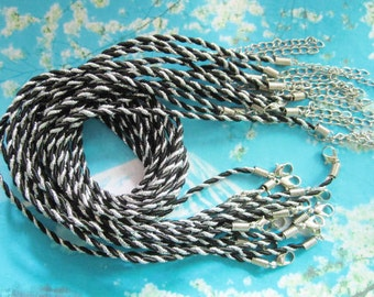 New come-- 10pcs 16-18 inch 3mm silver braided black silk necklace cords with very strong finish