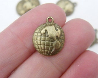 8 Globe charms 16 x 13mm antique bronze tone BC47