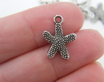 BULK 50 Starfish charms antique silver tone FF212 - SALE 50% OFF