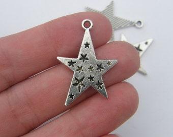 5 Star pendants antique silver tone S19