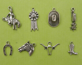 The Rodeo Collection - 8 different antique silver tone charms