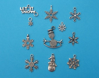 The Let It Snow Collection - 11 different antique silver tone charms