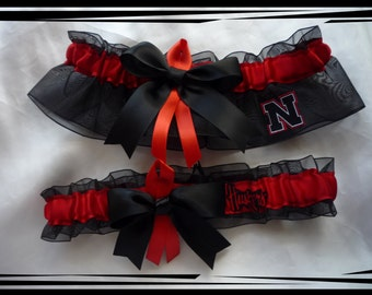 Black Organza Ribbon Wedding Garter Set Made with Nebraska Fabric