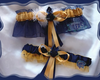 Navy Organza Combo Garter Set Made with Edmonton Oilers Design ((SALE))