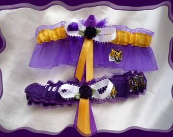 LSU Purple Organza Fabric Flower Wedding Garter Set PB