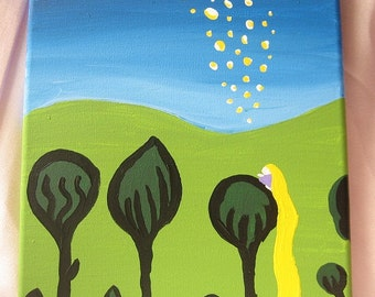 Sale- Gifts for Girls - Tangled Art Work Painting  - Rapunzel's Floating Lanterns - on Canvas