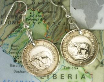 Liberia - Half Cent - ( ELEPHANT COIN EARRINGS ) - Unique Gift - (2-c5)