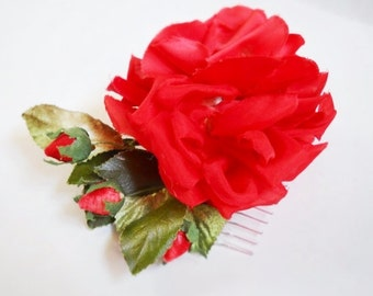 Full blown red rose millinery comb
