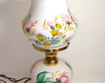 Moss Rose Peach Blow Lamp Electric Table Lamp Double Crimped Shade by Fenton