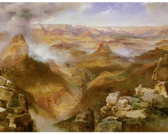 Wooden jigsaw puzzle. GRAND CANYON. Thomas Moran. American landscape. Wood, handcut, handcrafted, collectible. Bella Puzzles.