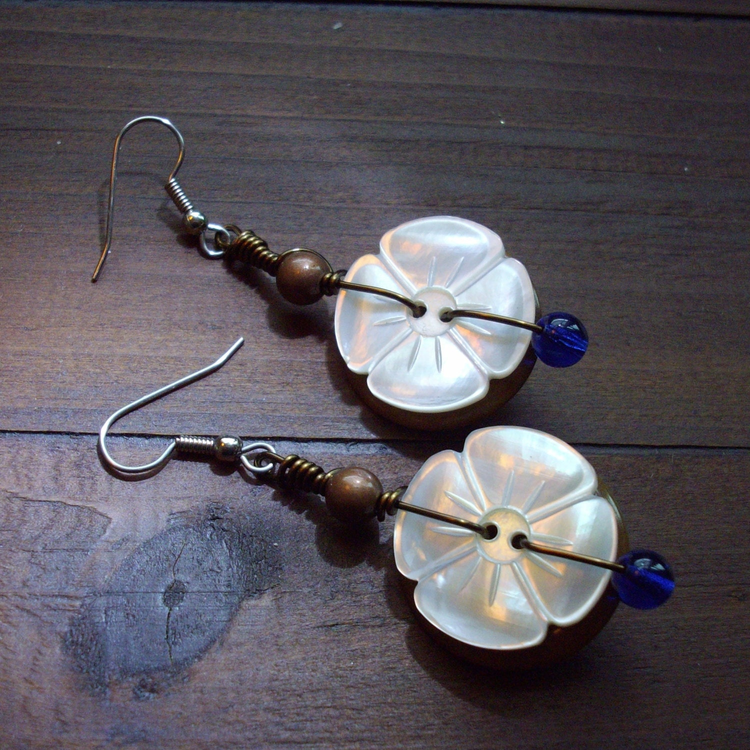 Button Earrings: Wire Wrapped Button Earrings Made With Vintage By
