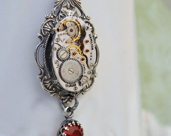 steampunk necklace - DARK VICTORIAN - vintage Hamilton 17 jeweled watch movement and ruby color glass jewel