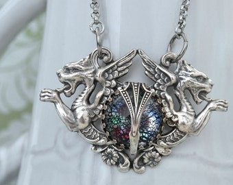 THE GATE GUARDIANS antiqued silver griffins necklace with vintage black opal glass cab