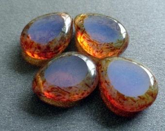 Czech Glass Beads - Milky Alexandrite Picasso Window Drops - Drops