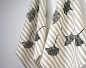 SALE. Ginkgo leaf. Handmade Linen Napkin. Striped Natural. Eco Friendly. Printed by hand. Handmade. Set of TWO. Tabletop. Hostess gift.
