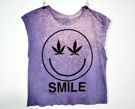 Reserved for Kate Macdonald. Smiley Marijuana Weed Crop Top Sleeveless Women's Loose Fit Small