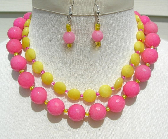 Raspberry & Lemon Sherbet Jade Beads, Hot Pink and Yellow, Glass Seed Beads, Multiple 2-Strand Necklace Set by SandraDesigns