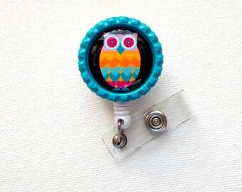 Rainbow Owl - ID Badge Holder - ID Badge Reel - Name Tag Badge - Nursing Badge - Cute Badge Reel