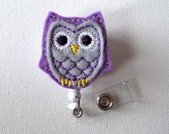 Purple Passion Owl - Retractable ID Badge Reel - Name Badge Holder - Cute Badge Reel - Nurse Badge Holder - Nursing Badge Clip - Felt Badge
