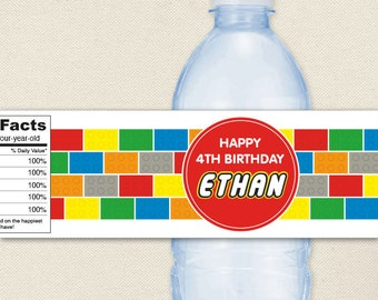 Building Bricks Party - 100% waterproof personalized water bottle labels
