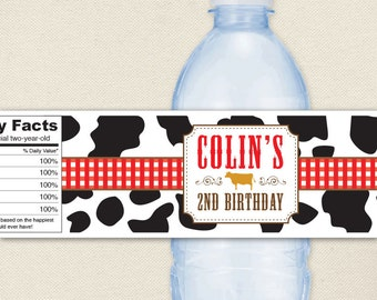Vintage Farm Party - 100% waterproof personalized water bottle labels