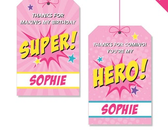 Pink Superhero Party - Personalized DIY printable favor tags