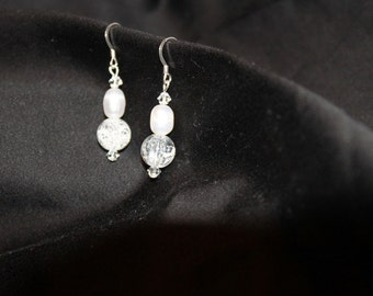 Handmade Fresh water pearl and swarovski earrings
