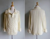 Vintage Ivory Cable Knit Fishermans Sweater