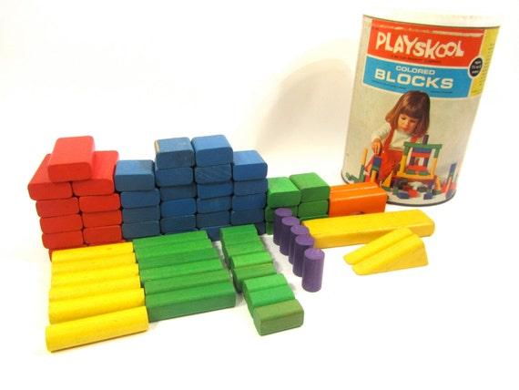 Vintage Playskool Wooden Blocks 1972 70 Pieces