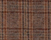 Felted 100% Woven Wool - Plaid in Lovely Tans - Item No. 3985 by Woolen Crow