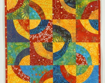 """Quilted Wall Hanging with Yellow, Red, Blue and Green - """"Chasing Dragonflies"""""""