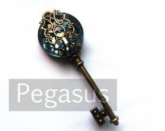 Wizard Grey Filigree Acrylic Gem Steampunk Skeleton Key (1 Piece)(12 Option Color) Jewelry pendant for scrapbook,costume,wedding,favors