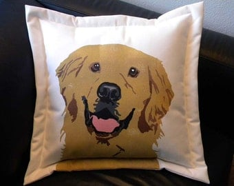 "Dog pillow outdoor Golden Retriever 20"" (50cm) pet rescue benefit painted dog canine best friend fundraiser shelter Crabby Chris Original"