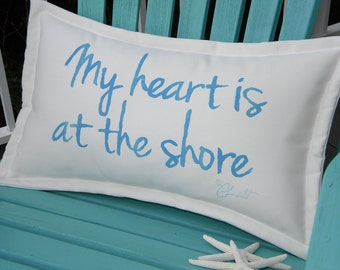 "Outdoor pillow My Heart Is at the Shore sky blue lettering on white 12""x20"" handpainted coastal tides Crabby Chris Original"