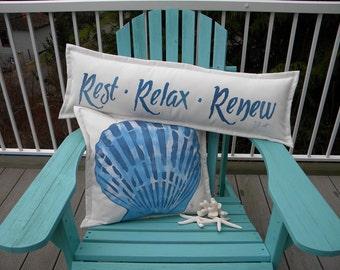 "HAMMOCK or BENCH PILLOW Rest Relax Renew 14""x36"" handpainted garden bench spa chaise deck yacht Crabby Chris Original"