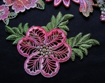 Coral Green Flower Leaves Hand Dyed Venise Lace Applique Embellishment Kit