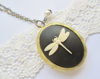 Dragonfly Locket, Pearl Charm, Summer Fashion Long Chain Necklace Great Gift for Mom Sister Friend
