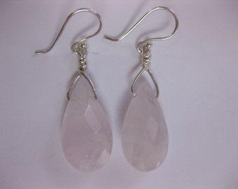 Rose Quartz Teardrop Dangle Earrings