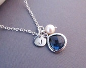 Personalized Necklace, Disc with Initial, Jewel, and Pearl, Bridesmaid Gift, Engraved Jewelry, Birthstone Necklace, September Birthday Gift