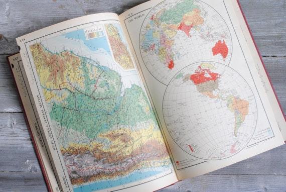 Vintage 1950s World Atlas