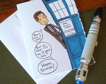 Doctor Who Belated Birthday Card - Eleventh Doctor - Late Birthday