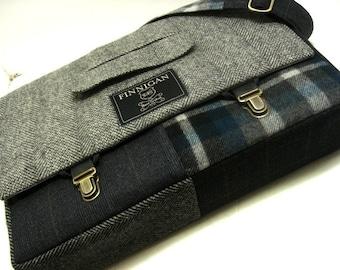 "Mens 15"" laptop Messenger Bag , 15""  Macbook Pro Laptop Sleeve, tote bag, Trunk Latch,Recycled Suit Coat"