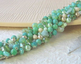 Beachy Bride SEA FOAM MINT Crystal Pearl Bracelet Bridal Cuff, Bridesmaids, Destination Wedding, Semi Precious, Ready to Ship,Hand Knit