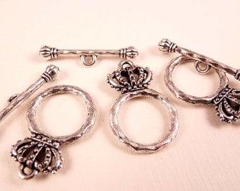 Silver Toggle Clasp Crown Clasps Silver Clasp Silver Findings Silver Crown