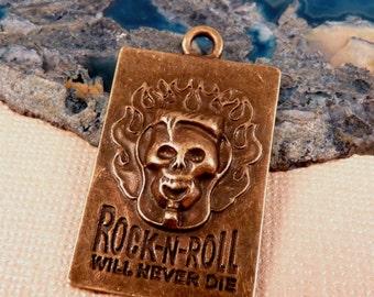 Brass Skull Pendant Brass Pendant Rock and Roll Pendant Skull Bead Goth Pendant Brass Bead