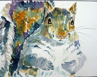 Squirrel Watercolor Art Print by Maure Bausch