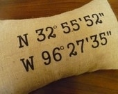 "12 x 16 ""Coordinates"" Burlap Pillow Cover"