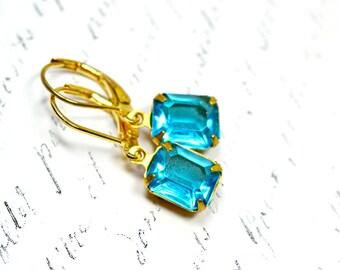 Vintage Blue Topaz Estate Style Earrings, Aquamarine and Gold Dangles, Rhinestone Rectangle Drops, Vintage Glass