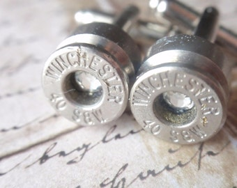 Bullet Jewelry. Cufflinks 40 Cal Nickel Silver With Color Rhinestone Gem Up Cycled  Repurposed Cuff Links